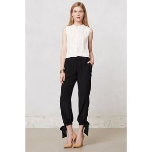 Harlyn  Anthropologie Silk Keyhole closure Crops